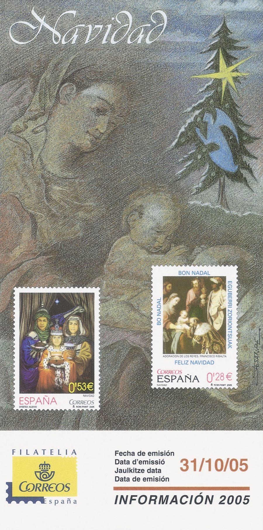 sello oficial correos Navidad 2005